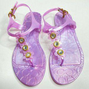 Coach Paisley Flower Jelly Purple Thong Sandals 8B